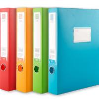 广博彩色档案盒PP塑料文件盒55mm加厚资料收纳盒A4办公文档盒