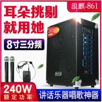浪麒861便携式充电户外音响带无线话筒地摊叫卖移动大功率音箱 蓝牙版:主机+1手持1头戴耳麦