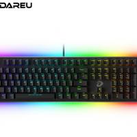 达尔优(dareu)EK925暗夜流光机械键盘 有线键盘 游戏键盘 108键 双区RGB幻彩 简约 吃鸡键盘 黑色青轴